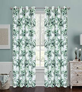 Green Leaves Pattern Digital Floral Print Blackout Curtains Tropical Coconut Palm Leaf Home décor Set with Grommet Heavy a...