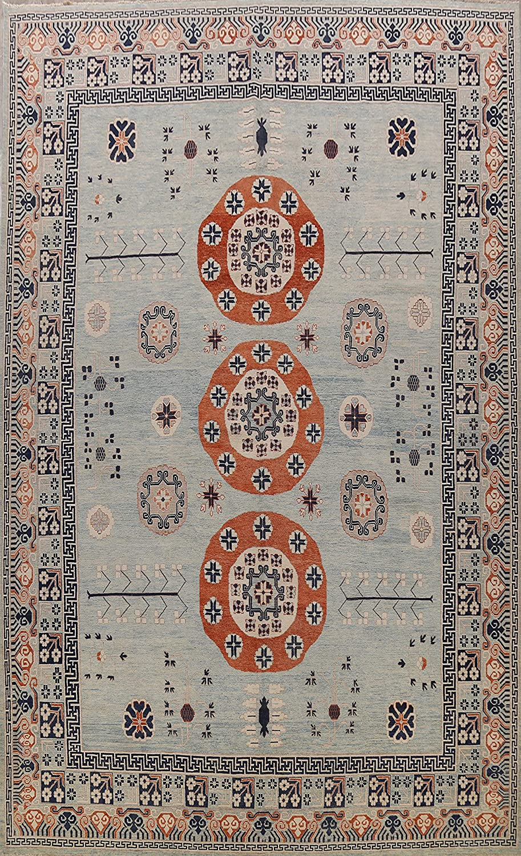 Blue Sales Geometric Max 67% OFF 100% Vegetable Dye Oriental Wool Rug Area Khotan
