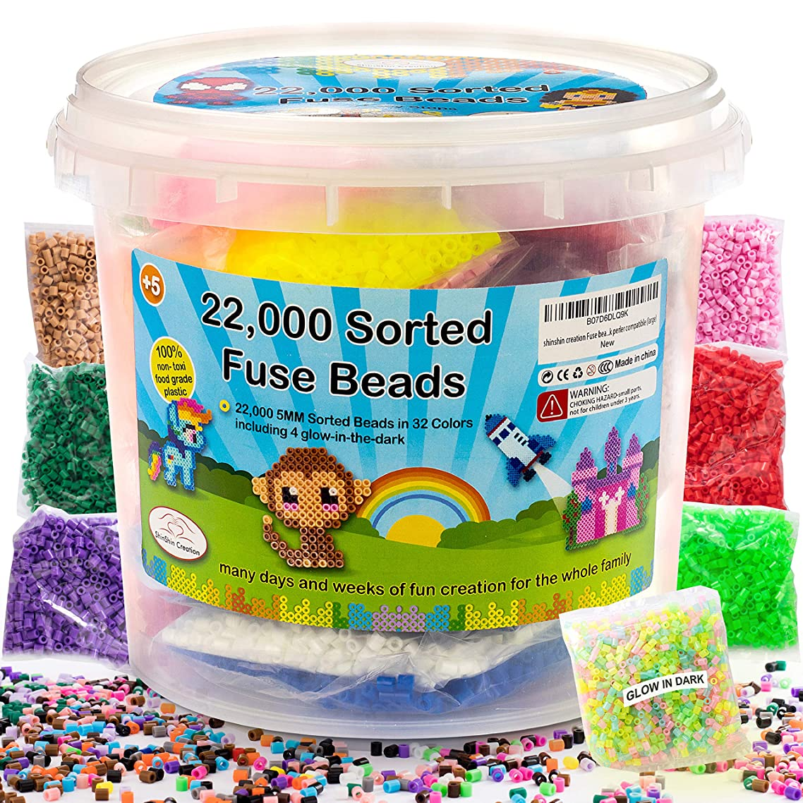 shinshin creation 22,000 Pre - Sorted Fuse Melty Beads Bucket Size 5mm 32 Colors Including Glow in The Dark Perler Compatible for Boy or Girl