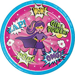 Girl Superhero Paper Plates, 24 ct