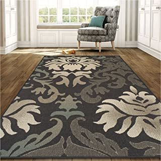 Superior Lowell Collection 8' x 10' Area Rug, Indoor/Outdoor Rug with Jute Backing, Durable and Beautiful Woven Structure, Grey, Beige, and Teal Floral Damask Pattern
