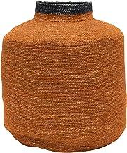 Bloomingville Hand-Woven Seagrass, Orange & Navy Basket