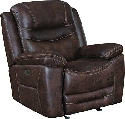 Benjara, Brown Fabric Upholstered Metal Power Glider Recliner with Padded Armrest