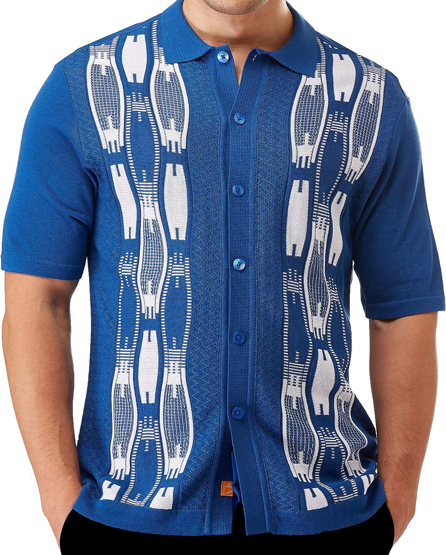 EDITION S Men's Short Sleeve Knit Shirt- California Rockabilly Style: Neo Chain Jacquard Pattern
