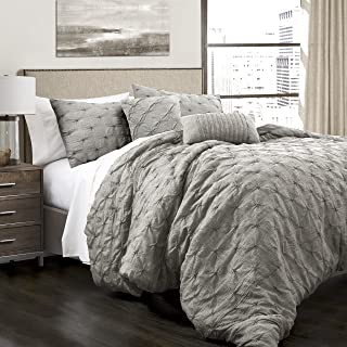 Lush Decor Ravello Shabby Chic Style Pintuck Gray 5 Piece Comforter Set with Pillow..