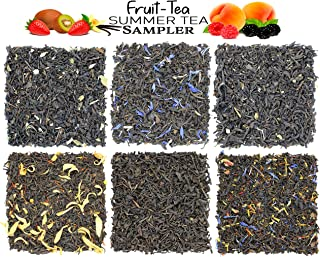 Fruit-Tea Summer Tea Sampler, Refreshing Loose Leaf Tea Assortment Featuring Blackberry, Vanilla, Tropicana, Gold Rush, Raspberry, & Strawberry Kiwi Black Teas - Approx 90+Cups