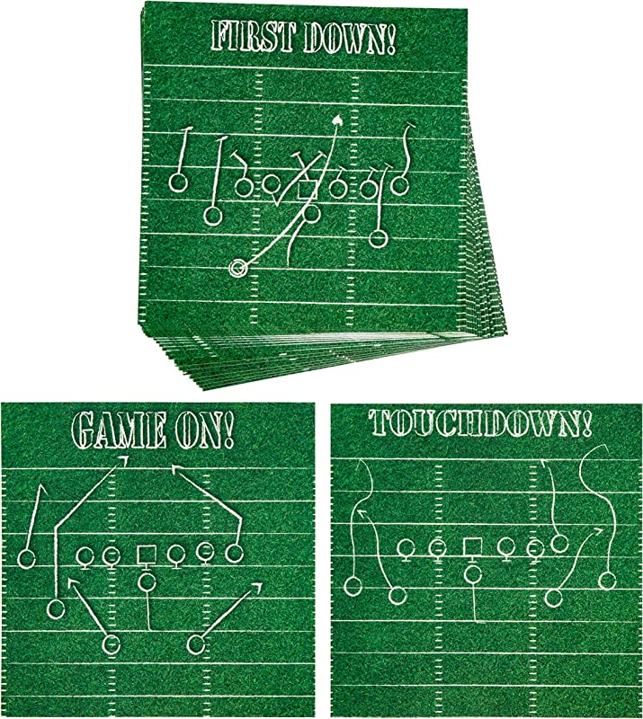 Football Coasters 24 Pack Disposable Thick Paper Coaster Set 3 Designs Sports Party Supplies Game Day Tailgate Accessories 4 X 4 Inches