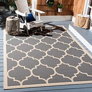 Safavieh Courtyard Collection CY6914-246 Anthracite and Beige Indoor/ Outdoor Area Rug (4' x 5'7