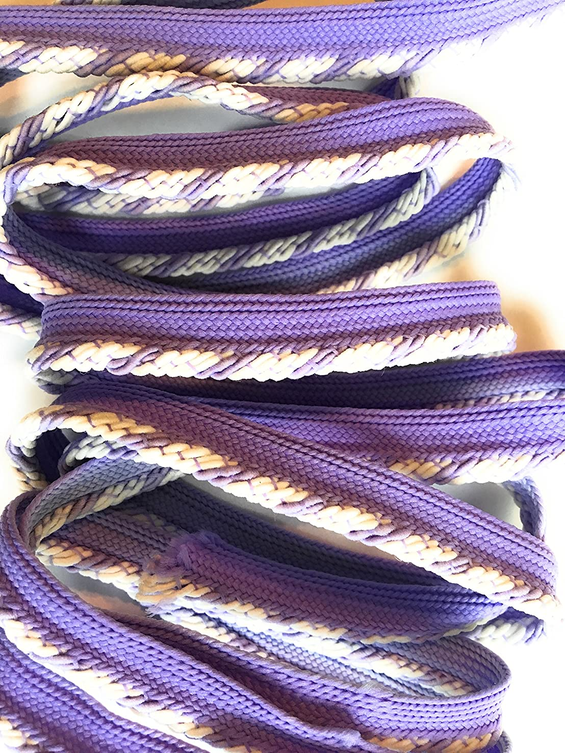 LIP CORDING Multi Color White /Lavender twisted -Cord-edge -Piping Trim for Clothing Pillows, Lamps, Draperies 5 Yards Pi-129