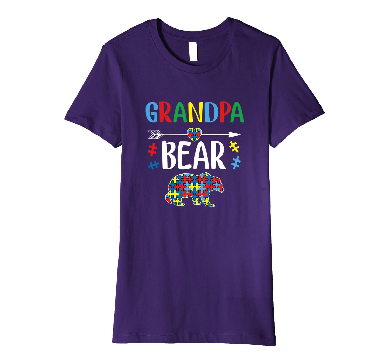 Autism Grandpa Bear Puzzle Mens Autistic Dad, Grandpa Premium T-Shirt