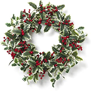 Indoor//Outdoor Winter Holiday Decorations Frosted Mistletoe with Pearls Timer Included 21 Inch Wreath with 75 LED Lights Battery Operated LampLust Lighted Christmas Wreath for Front Door