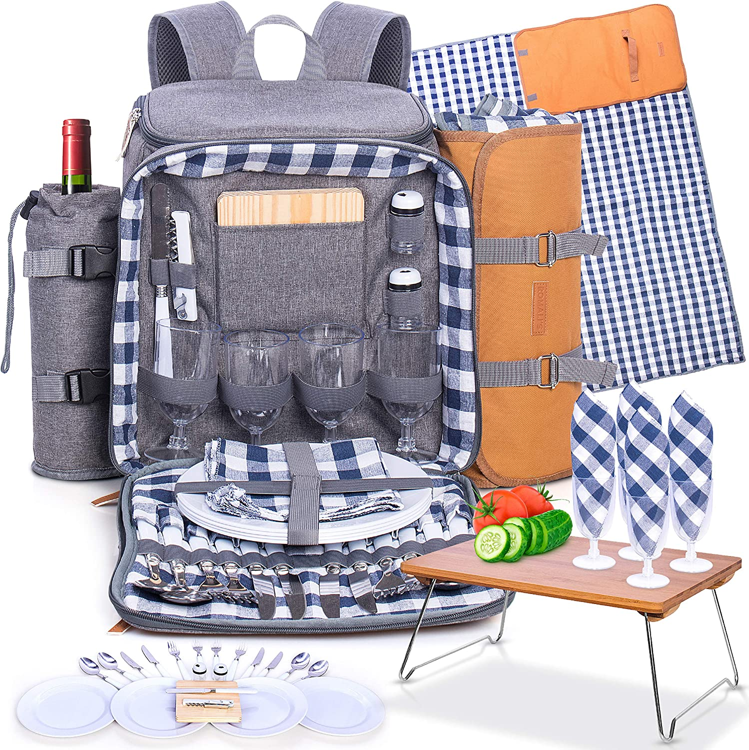 Family Picnic Backpack for 4 - Insulated - Gray - Fully Equipped with Ceramic Plates, Cutlery, Non-breakable Glasses, Chopping Board, Bottle Opener, Napkins, S/P Shakers Plus Waterproof Blanket: Kitchen & Dining