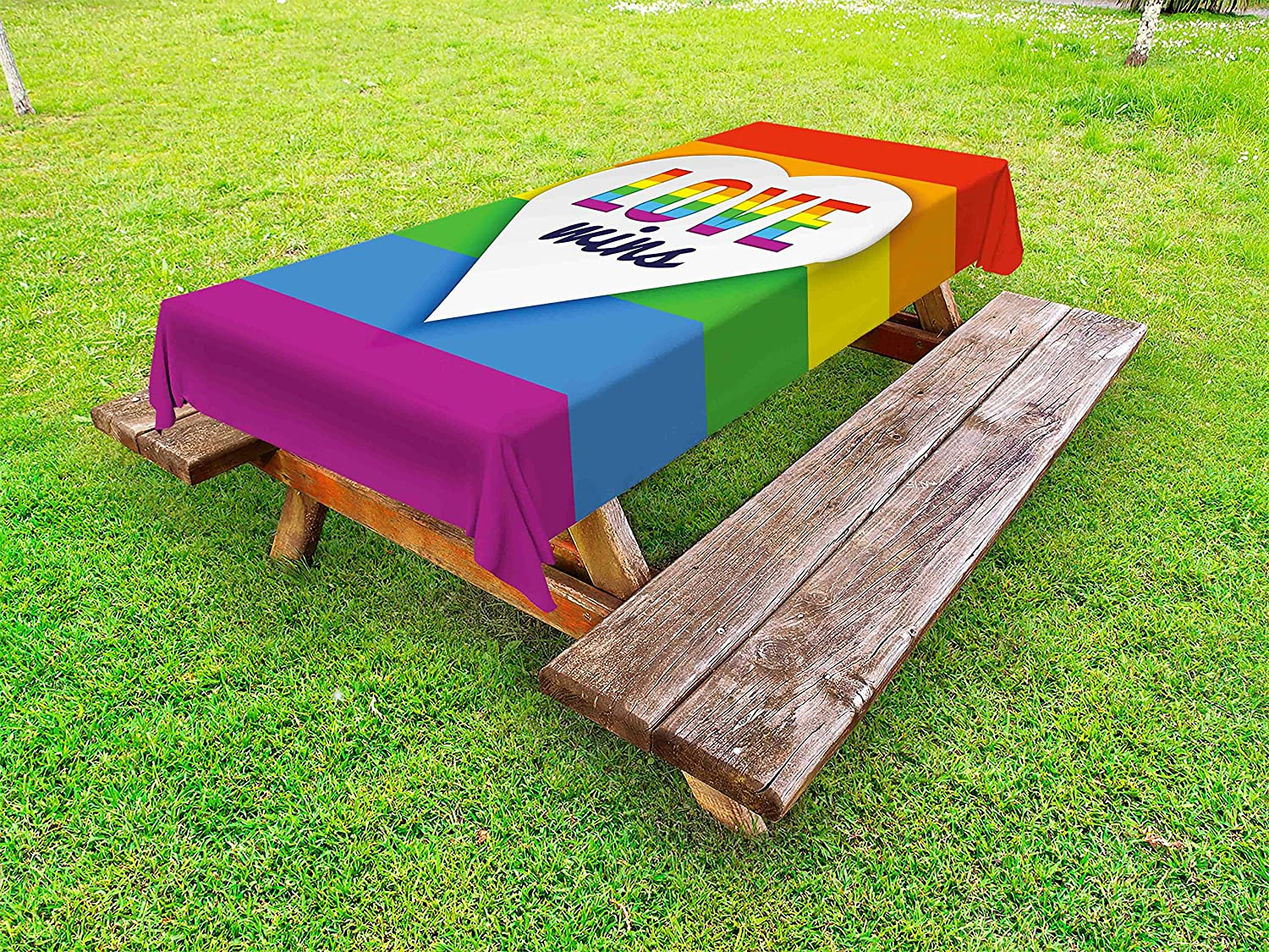 Popularity Ambesonne Pride Ranking TOP3 Outdoor Tablecloth Rainbow with Stripes Flag He