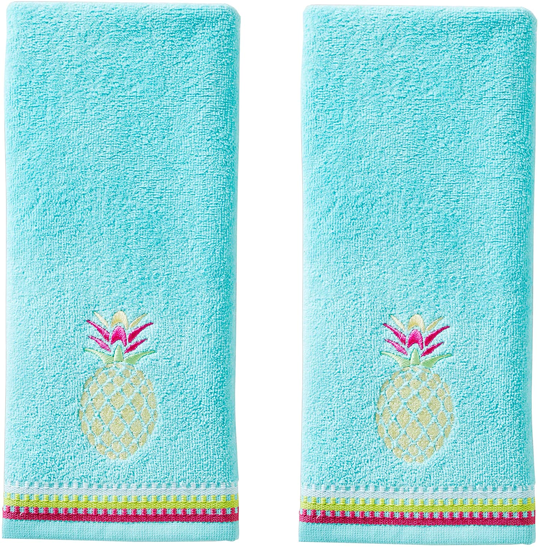 SKL HOME Colorful Pineapple Hand Towel Set, Aqua 2 Count