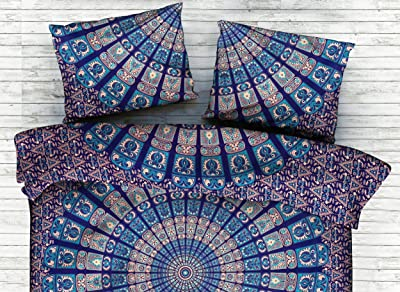 """Blue Mandala Printed Bed Cover Bed Sheet Bedding Blanket Cotton Bedspread Tapestry Double Tapestry Home Decor Bed Throw (Bed Sheet - 95"""" x 85"""", Pillow Cover - 28"""" x 18' Inch) by Handicraft-Palace"""