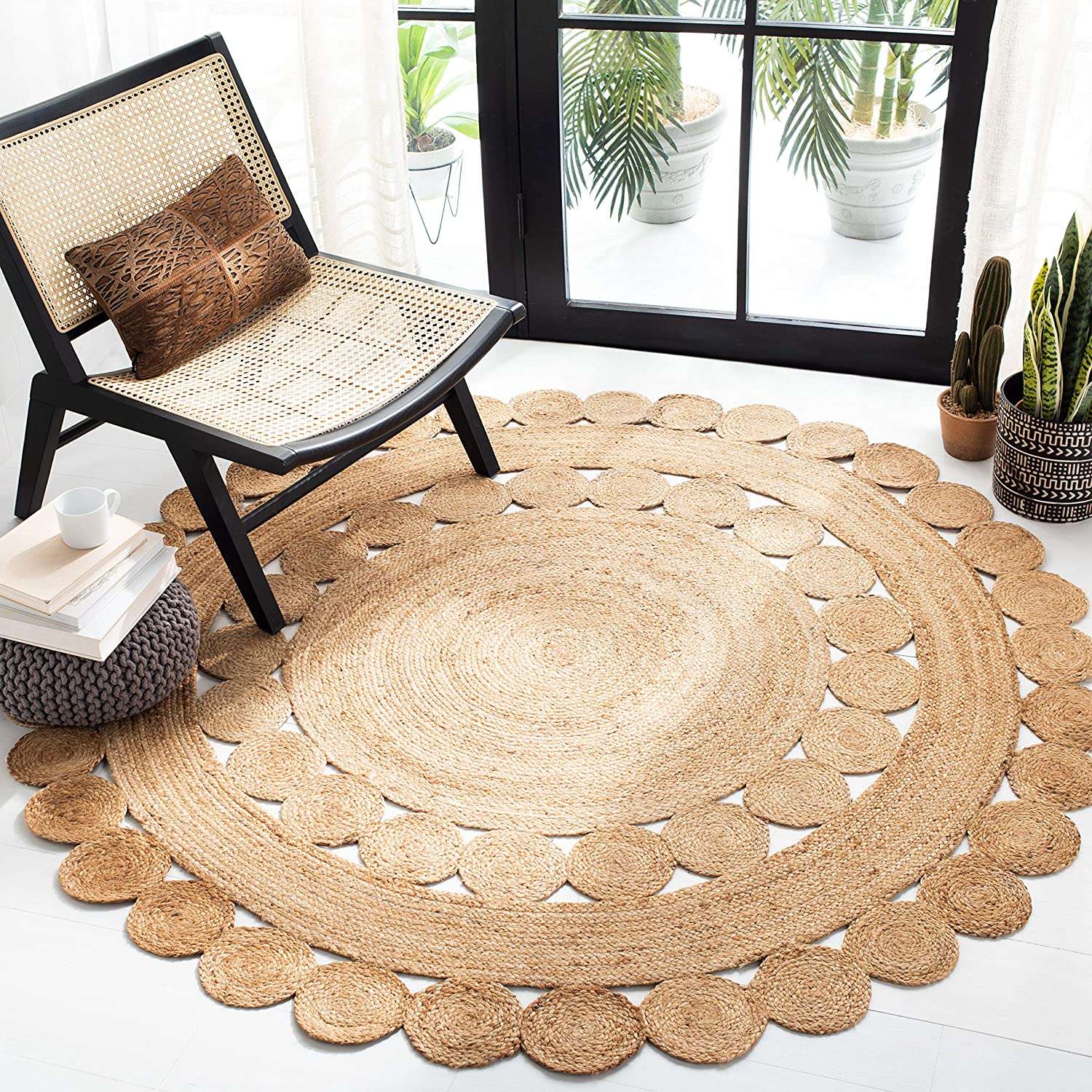 Safavieh Natural Fiber Round Collection NFB308A Handmade Boho Co Under blast sales Free shipping on posting reviews