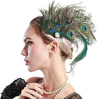 ArtiDeco 1920 Diadema de Pluma de Pavo Real Peinado con Cristal Vintage Años 20 Flapper Pelo Accesorio de Pluma Disfraz Gatsby Accesorio