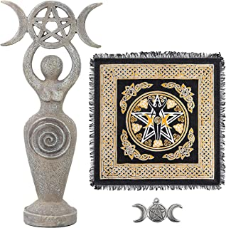 Sarimoire Altar Cloth Goddess Statue Spiral Wiccan Triple Moon Pentagram Pentacle Pendant Altar Supplies Kit