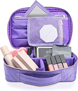habe Mini Travel Makeup Bag with Mirror - Holds 3X More - Premium Vegan Designer Small Make Up Bag Organizer for Cosmetics Storage - Cosmetic Bags Train Cases for Women - (Mini, Purple, 10.5x6.5x3 in)