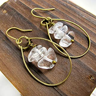 Raw Crystal Quartz Wire Hoop Earrings-Boho Earrings- Raw Stone Earrings