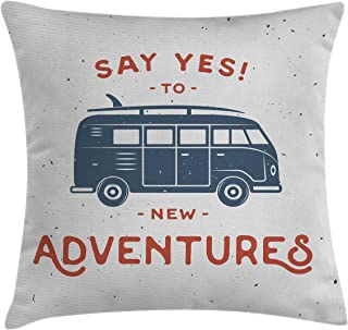 Ambesonne Vintage Throw Pillow Cushion Cover, New Adventures Typography with Little Van Hippie Lifestyle Free Spirit Print, Decorative Square Accent Pillow Case, 16