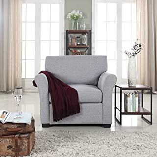DIVANO ROMA FURNITURE Classic and Traditional Linen Fabric Accent Chair - Living Room Armchair (Light Grey)