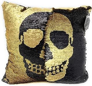 Max Studio Skull Halloween Black Gold Reversible Sequin Decorative Pillow