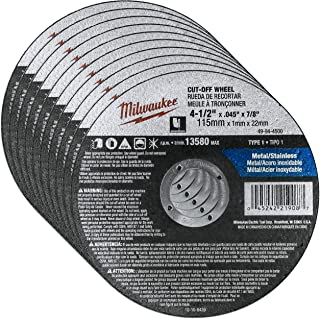 """Milwaukee 10 Pack - 4 1 2 Cutting Wheels For Grinders - Aggressive Cutting For Metal & Stainless Steel - 4-1/2"""" x .045 x 7..."""