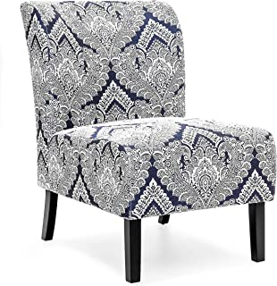 Best Choice Products Polyester Upholstered Modern Armless Accent Chair, Blue/White