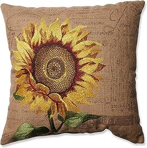 "Pillow Perfect Sunflower Burlap Throw Pillow, 16.5"""