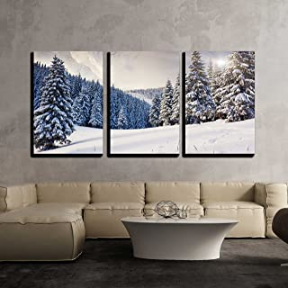 wall26 - 3 Piece Canvas Wall Art - Fantastic Evening Winter Landscape. Dramatic Overcast Sky. Creative Collage - Modern Home Decor Stretched and Framed Ready to Hang - 24