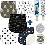 Baby Burp Cloths Pack of 5 by Dodo Babies + 2 Pacifier Clips + Pacifier Case, Premium Quality Unisex Boy or Girls Soft and Absorbent, Excellent Baby Shower/Registry Gift