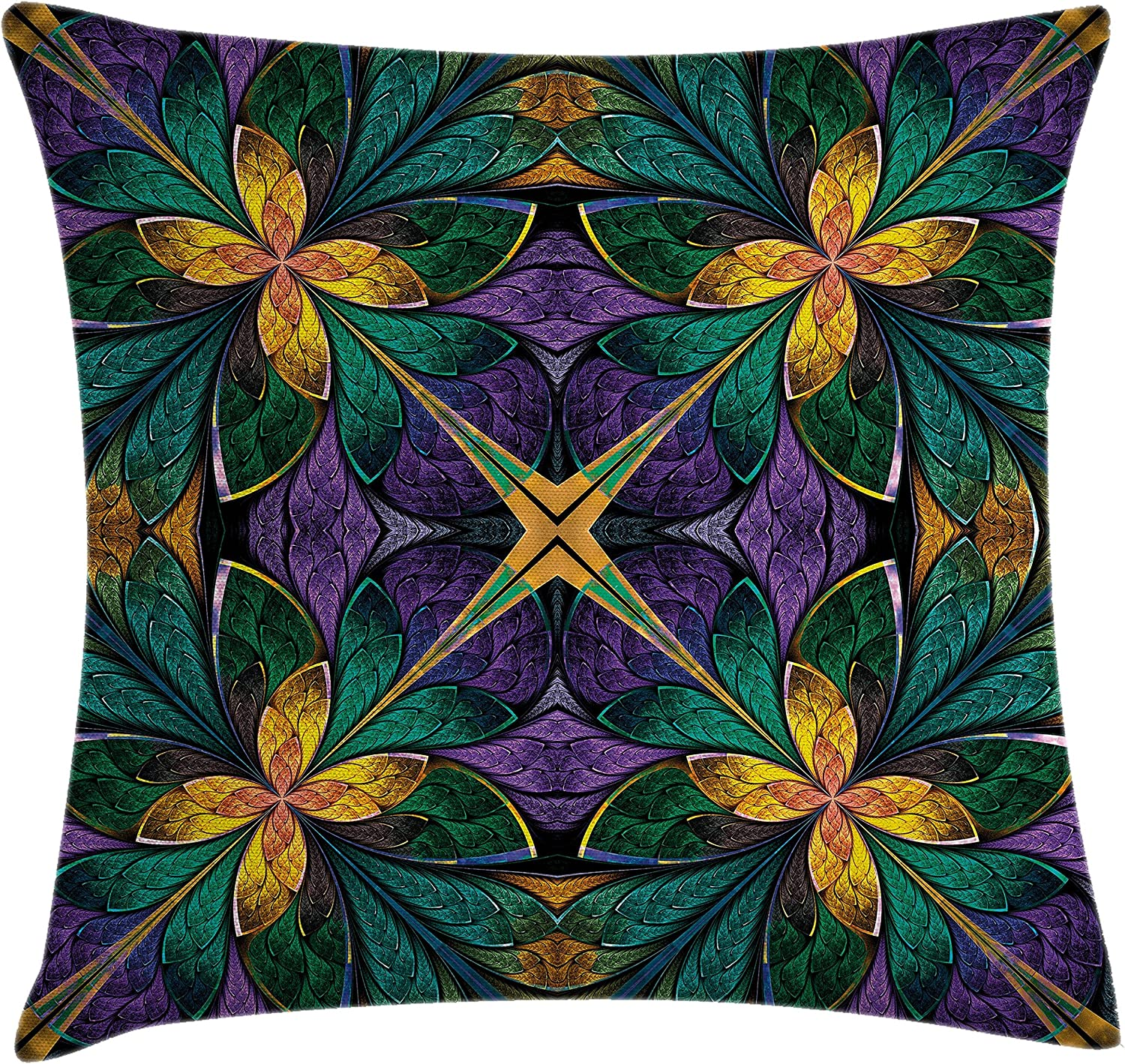 Ambesonne Fractal Throw Pillow Cushion Cover Antique Ornate Symmetric Stained Glass Mosaic Window Style Floral Tile Pattern Decorative Square Accent Pillow Case 16 X 16 Green Purple Home Kitchen