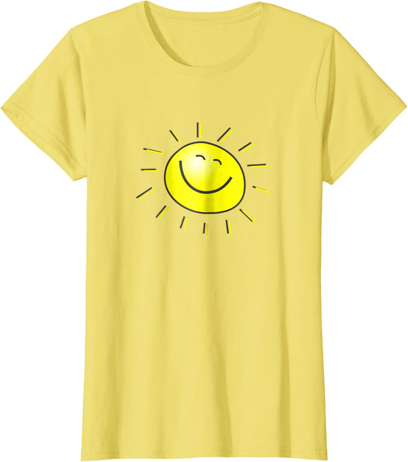 Short Sleeve Kids Adults Unisex T-shirt Happy Sun With Smiley Face