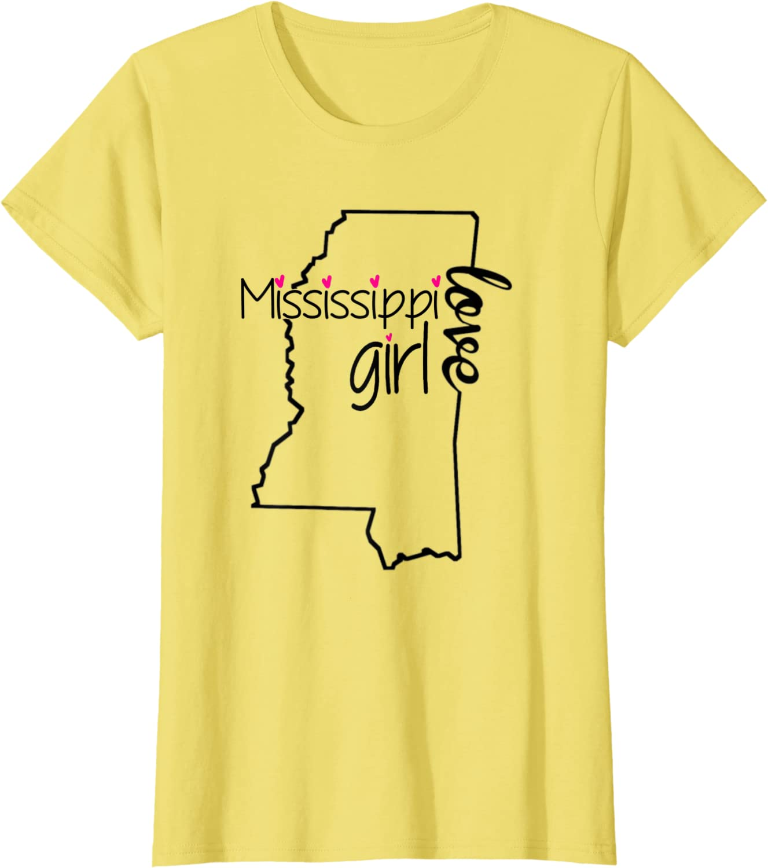 1899C I love MS Ladies T-shirt Mississippi Compatriot Women/'s Tee