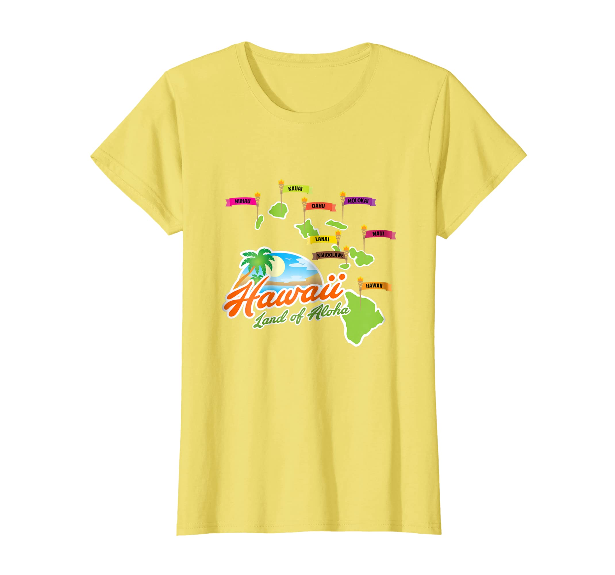 677d787b5 Amazon.com: Hawaiian Islands T-Shirt - Hawaii Land of Aloha Graphic Tee:  Clothing