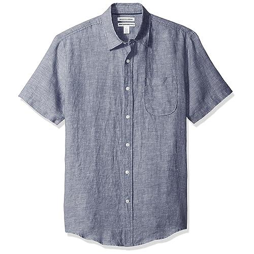 dd2ff34ab5b Amazon Essentials Men s Slim-Fit Short-Sleeve Linen Shirt