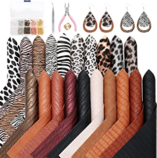 ZAIONE 20 Pcs/Set Leopard ImitatedRattan Faux Leather Sheets 8'' x 6'' A5 EarringMakingKitSet Boho Bohemia Embossed Te...