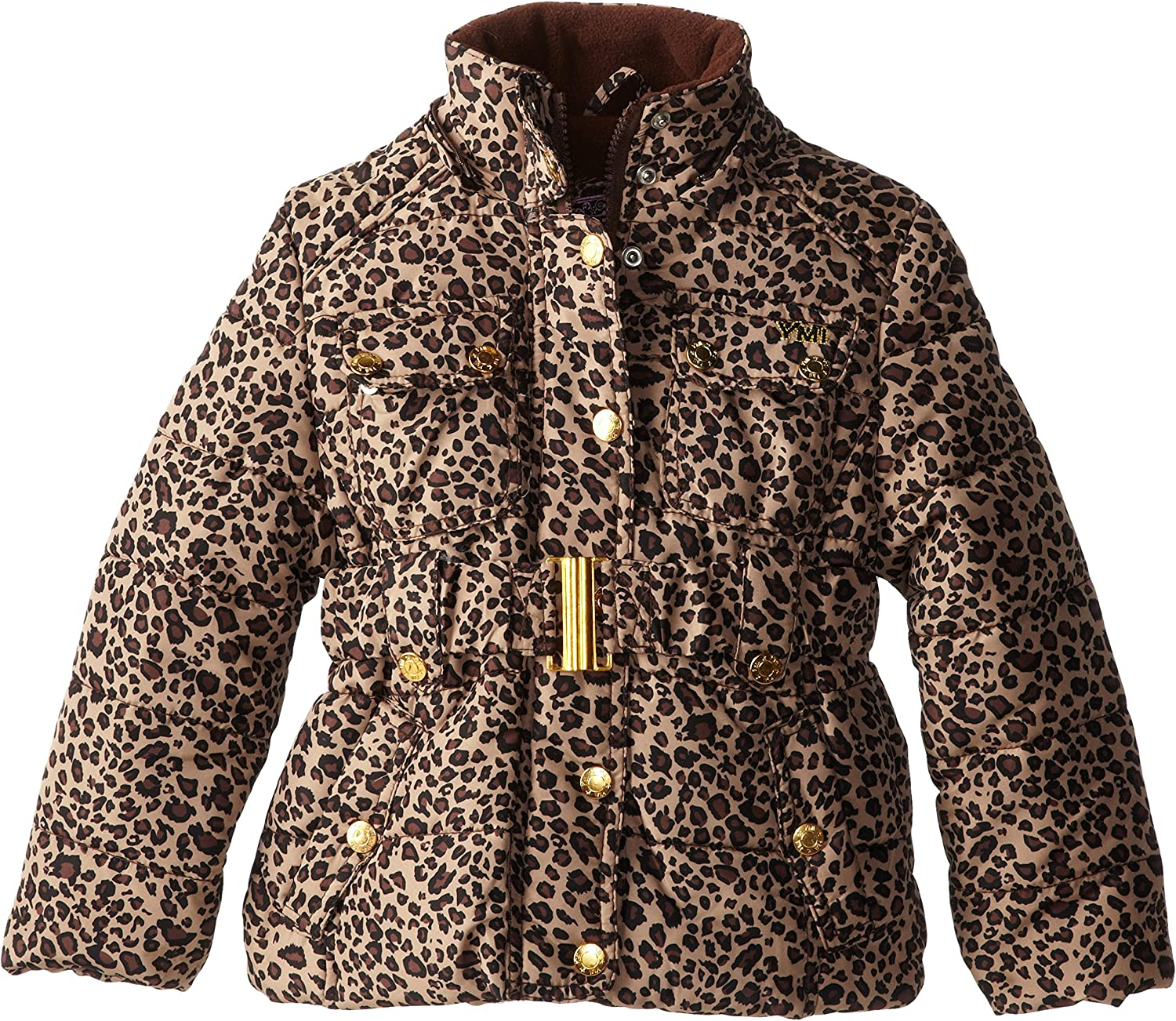YMI Little Girls Belted Bubble Jacket with Hood