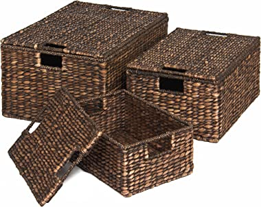 Best Choice Products Set of 3 Water Hyacinth Woven Storage Basket Chests w/Attached Lid, Handle Hole - Brown