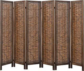 RHF 5.6ft.Tall Reed Woven Room Dividers, Decorative Room Divider, 6 Panels Screen, Folding Semi Privacy Partition Wall Room Divider Wood Frame Screen,Freestanding, 6 Panel 5.6-Feet, Reed,Brown