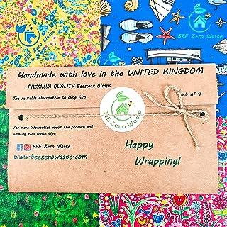 Envolturas de cera de abejas, juego de 4, colores aleatorios, BEE Zero Waste, UK HANDMADE, alternativa natural a la pelícu...