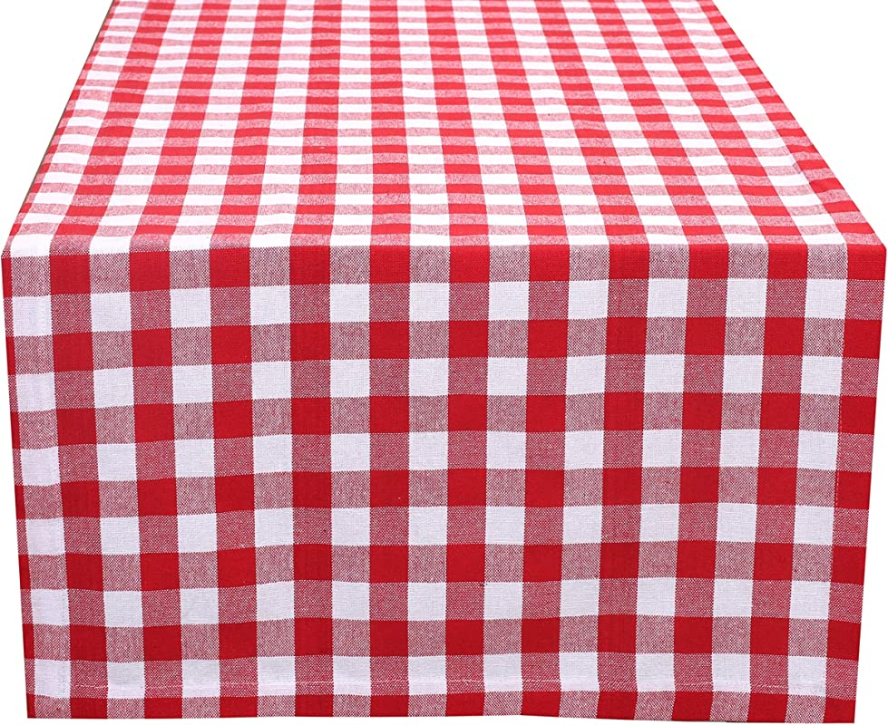 Ramanta Home Cotton Gingham Check Plaid Table Runner For Family Dinners Or Gatherings Indoor Or Outdoor Parties Everyday Use Wedding Table Runner 16x90 Seats 8 10 People Red White 2Pack