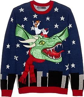 Men's Jesus Santa Christmas Dragon Ugly Christmas Sweater, black, Medium