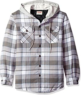 Wrangler Authentics Men's Long Sleeve Quilted Lined Flannel Jacket with Hood