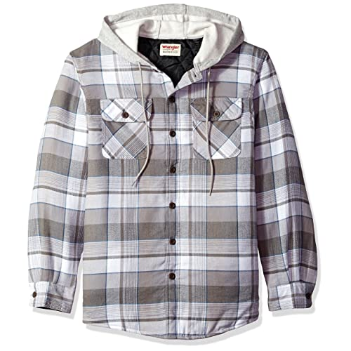 4894e57a13a Wrangler Authentics Men s Long Sleeve Quilted Lined Flannel Jacket with Hood