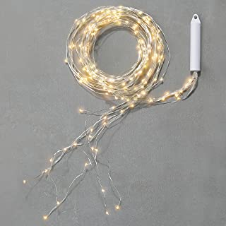 LampLust Fairy Spray String Lights - Waterproof Outdoor, 9 Strand Cascading Waterfall Garland Light, Warm White Twinkling LEDs, Silver Bendable Wire, 8.5 Feet, Cordless Battery Operated