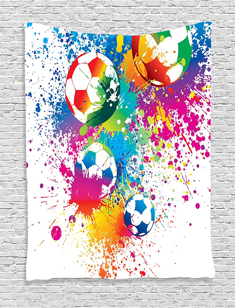 Ambesonne Soccer Tapestry, Colored Splashes All Over Soccer Balls Score World Cup Championship Athletic, Wall Hanging for Bedroom Living Room Dorm, 60