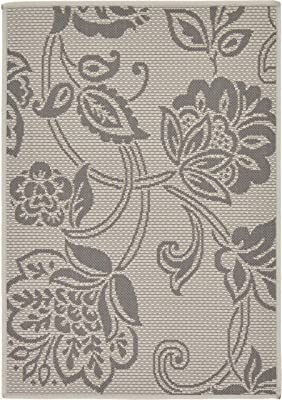 Unique Loom Outdoor Botanical Collection Floral Casual Transitional Indoor and Outdoor Flatweave Gray Area Rug (2' 2 x 3' 0)