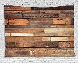 Ambesonne Wooden Tapestry, Rustic Floor Planks Print Grungy Look Farm House Country Style Walnut Oak Grain Image, Wide Wall Hanging for Bedroom Living Room Dorm, 80